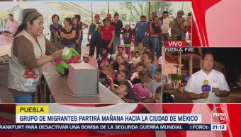 Grupo de migrantes partirá mañana hacia la Ciudad de México en Puebla