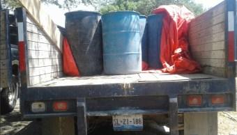 Aseguran en Oaxaca mil 750 litros de hidrocarburo robado