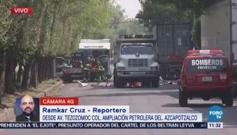 Inician retiro de tambos con sustancia tóxica en avenida Tezozomoc