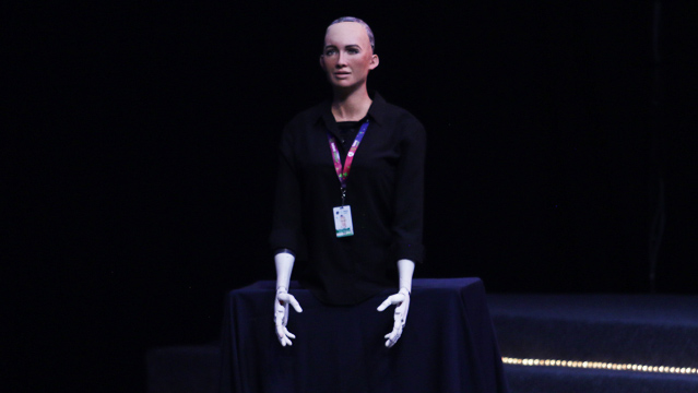 Presentación de ls robot Sophia en Jalisco Talent Land 2018