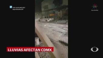 Lluvia y granizo dejan encharcamientos en gran parte de CDMX