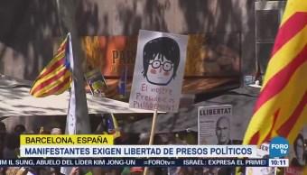 Manifestantes Barcelona Exigen Libertad Presos Políticos