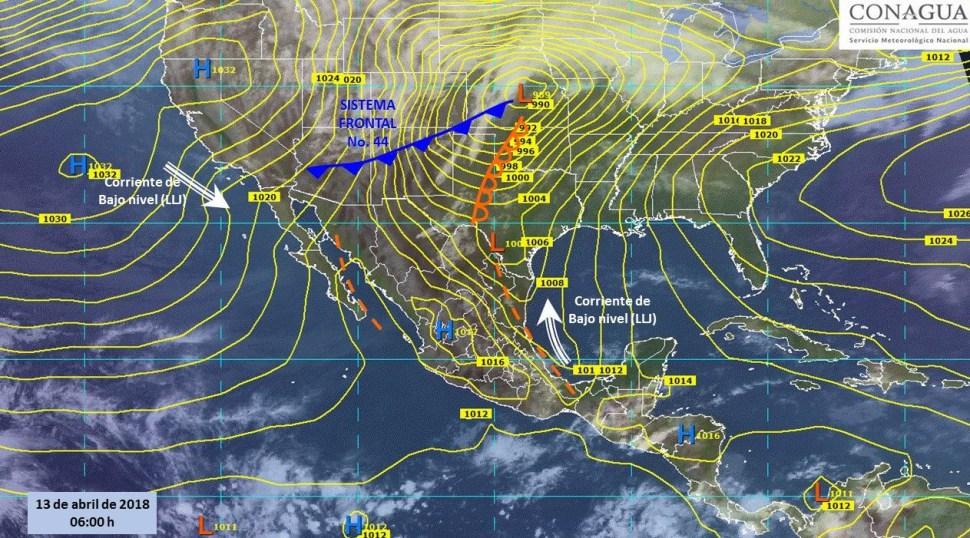 Mapa con el pronóstico del clima para este 13 de abril. (SMN)