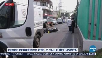 Motociclista muere tras impactarse contra muro en Periférico Oriente, CDMX