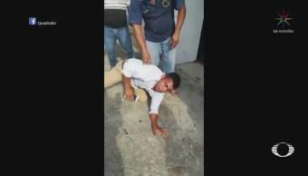 Mujer golpea a sujeto que la manoseo, en Veracruz