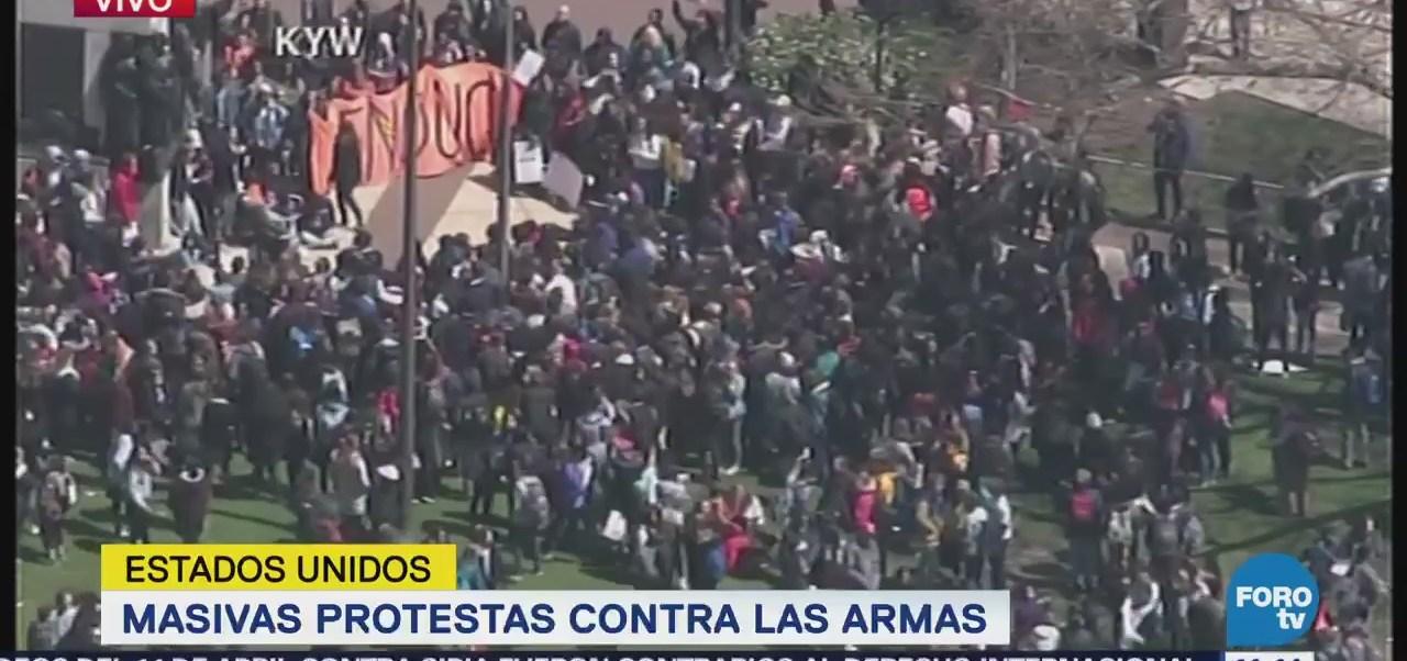 Realizan masivas protestas contra las armas en EU
