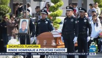 Rinden Homenaje Policías Caídos Zacatelco, Tlaxcala