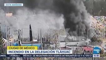 Se registra incendio en la delegación Tláhuac