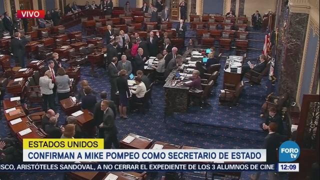 Senado de EU confirma a Mike Pompeo como secretario de Estado
