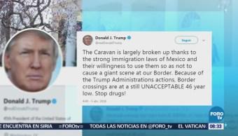 Trump elogia a México por caravana de migrantes