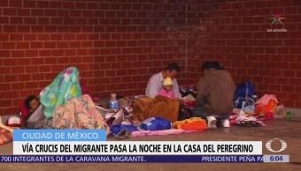 Viacrucis del Migrante pasa la noche en la 'Casa del Peregrino', CDMX