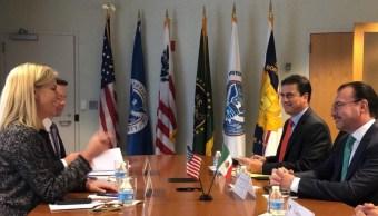 Videgaray se reúne con secretaria de Seguridad Interior de EU