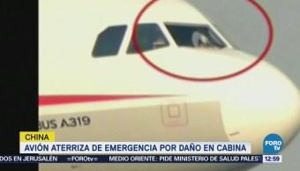 Avión aterriza de emergencia en China por estallido del cristal derecho de la cabina