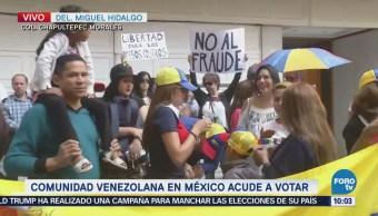 Comunidad venezolana en México protesta contra elecciones en país caribeño