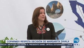 Coparmex respeta decisión de Margarita Zavala