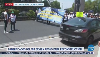 Damnificados del 19S bloquean carriles centrales