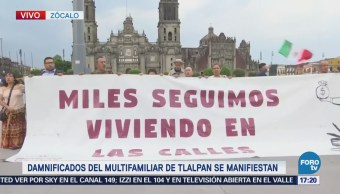 Damnificados Multifamiliar Tlalpan Manifiestan Zócalo