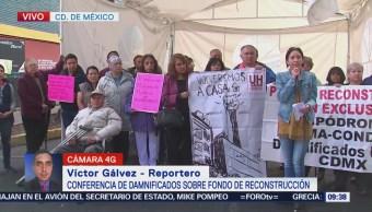 Damnificados ofrecen conferencia sobre fondo de reconstrucción