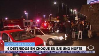 Detienen a cuatro agresores de mujer tras chocar en Eje 1 Norte