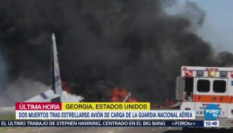 Dos muertos deja accidente de avión militar de carga en Georgia
