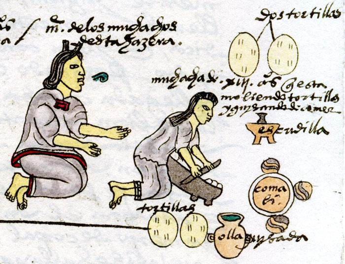 codice-azteca-madre-enseñando-a-hacer-tortillas-a-hija mexico antiguo