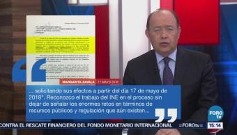 INE recibe carta de renuncia a la contienda electoral de Margarita Zavala