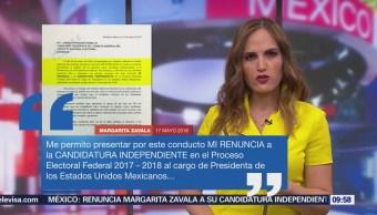 INE recibe carta de renuncia de Margarita Zavala