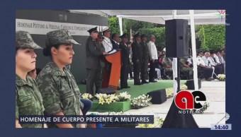 Rinden Homenaje Cuerpo Presente Soldados Asesinados Coyuca De Catalán, Guerrero