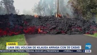 Lava del volcán Kilauea arrasa con 35 casas