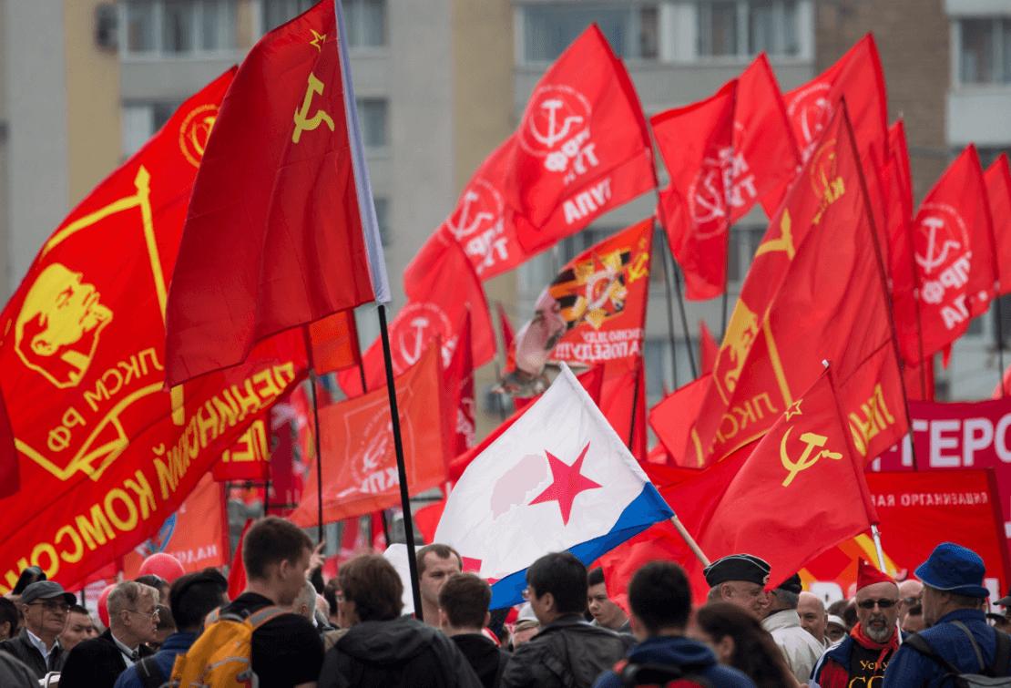 Manifestación del 1 de mayo en Moscú, Rusia. (AP)