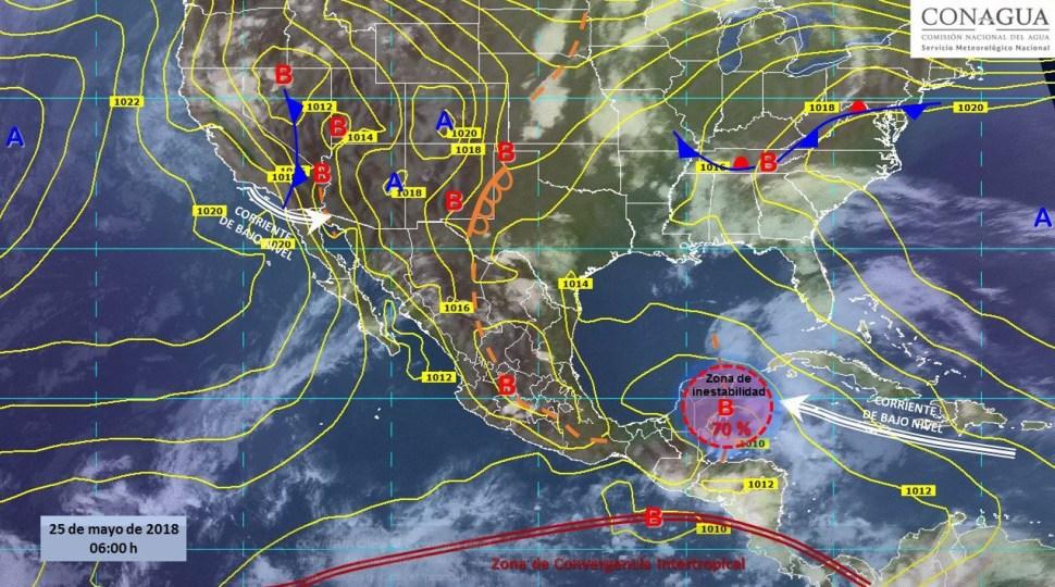 Mapa con el pronóstico del clima para este 25 de mayo