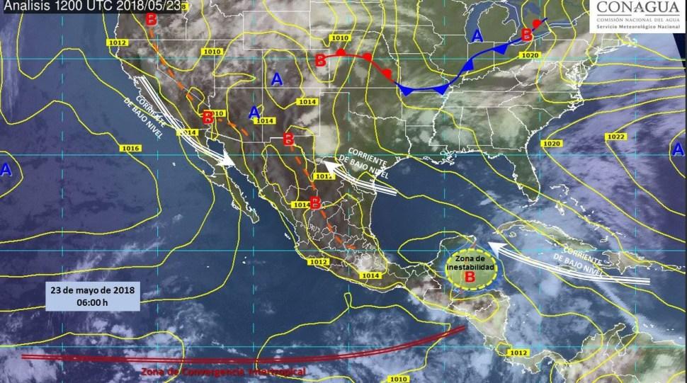Mapa con el pronóstico del clima para este 23 de mayo. (SMN)