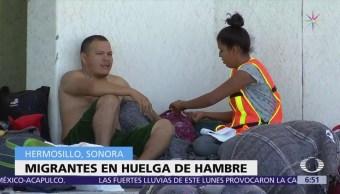 Migrantes en huelga de hambre en Sonora