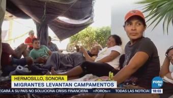 Migrantes Levantan Campamentos Hermosillo Sonora Huelga