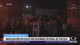 Movilización policíaca por disturbios en penal de Texcoco