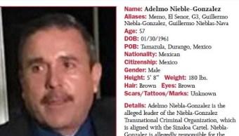 Autoridades de EU ofrecen recompensa de 5mdd por información de narcotraficante mexicano