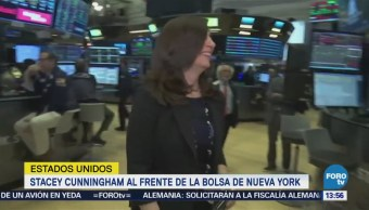 Stacey Cunningham frente Bolsa de Nueva York
