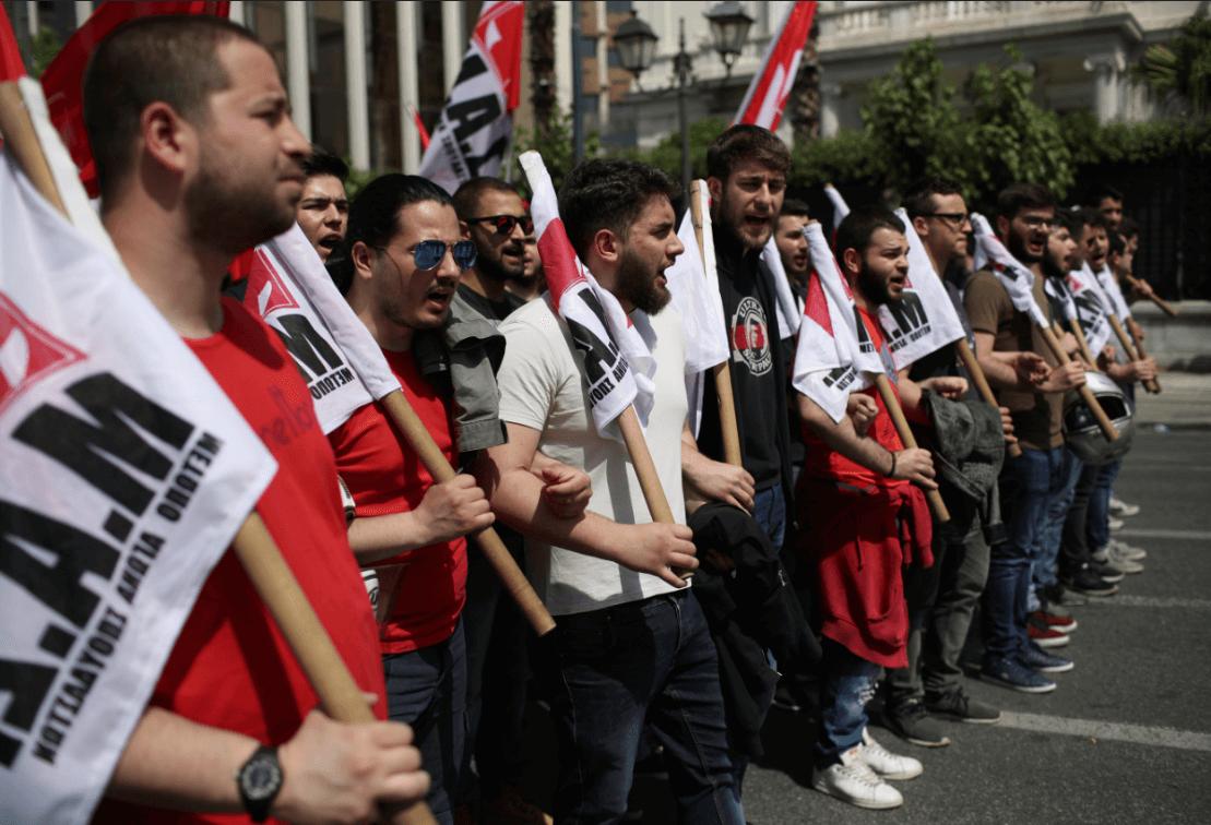 Protestas frente el Parlamento griego. (AP)