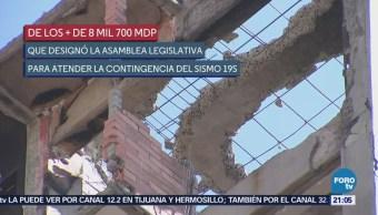 Recursos Reconstrucción Cdmx Sismo Septiembre Asamblea Legislativa