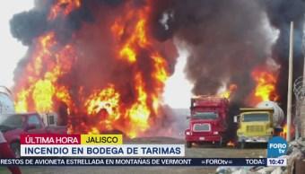 Se registra incendio dentro de bodega de tarimas en Tlaquepaque, Jalisco