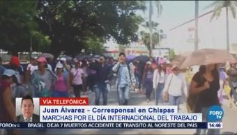Sindicatos Marchan Tuxtla Gutiérrez Día Del Trabajo
