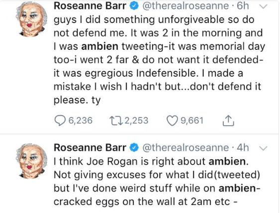Roseanne Barr culpa a somníferos por tuit racista