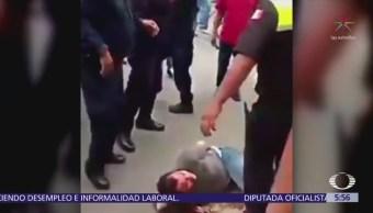 Usuarios de transporte público golpean a asaltantes en Chalco, Edomex