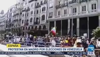 Venezolanos se manifiestan en España contra las elecciones en país caribeño