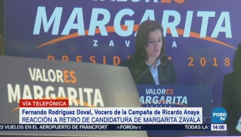 Vocero de Ricardo Anaya reconoce aportaciones de Margarita Zavala