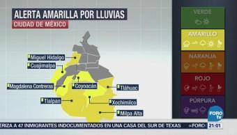 Activan Alerta Amarilla Lluvias Delegaciones Cdmx