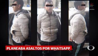 Detienen a ladrón que planeaba asaltos por WhatsApp