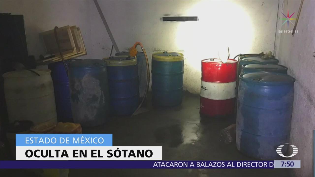 Aseguran combustible robado en el sótano de palacio municipal en Edomex