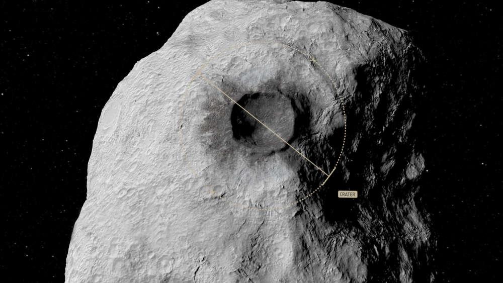 Gráfica del cráter que crearía el DART en Didymon
