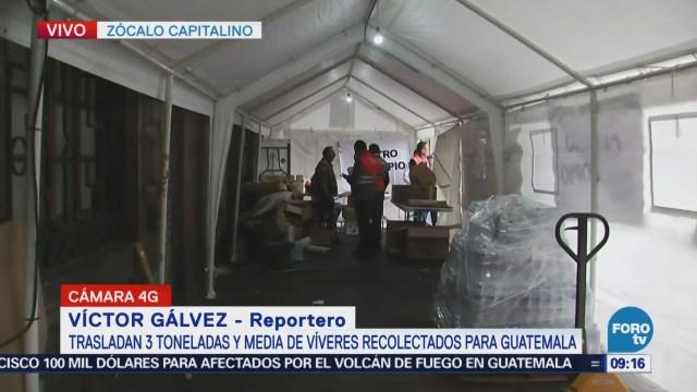 Envían víveres para damnificados por erupción en Guatemala desde la CDMX